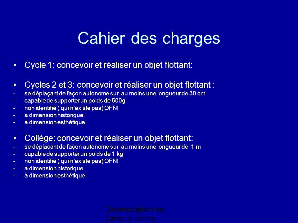Circonscription de Cambrai centre Cahier des charges Cycle 1: concevoir et réaliser un objet flottant: Cycles 2 et 3: concevoir et réaliser un objet f