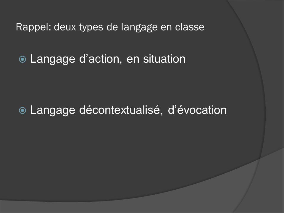 Rappel: deux types de langage en classe  Langage d'action, en situation  Langage décontextualisé, d'évocation