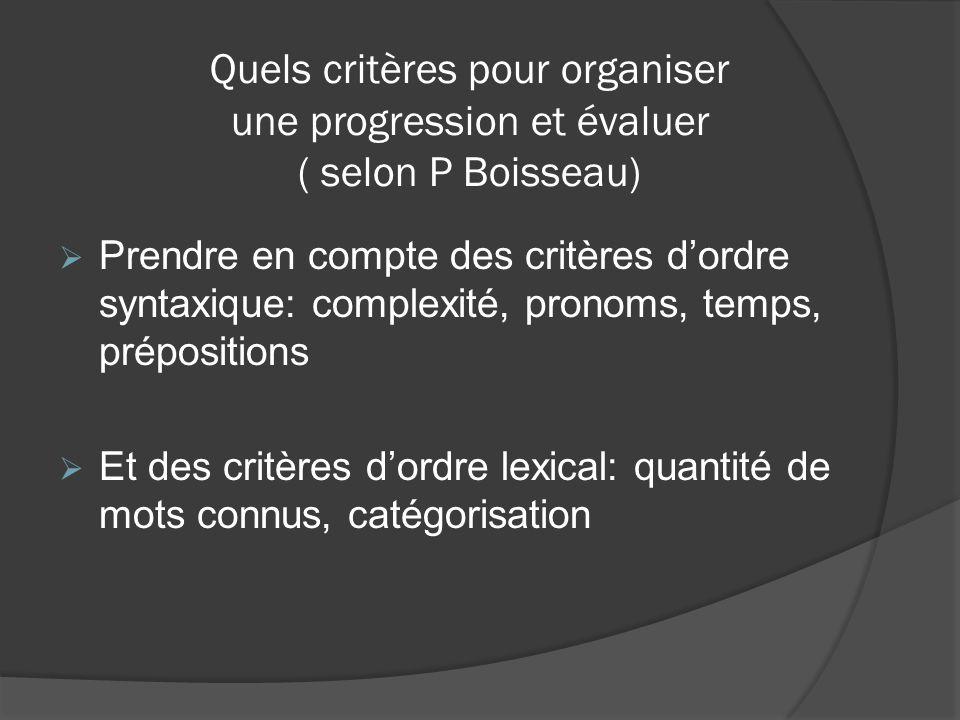 Quels critères pour organiser une progression et évaluer ( selon P Boisseau)  Prendre en compte des critères d'ordre syntaxique: complexité, pronoms,
