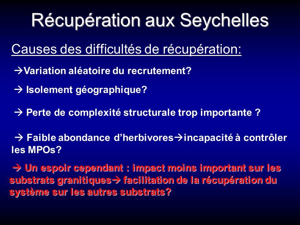 Récupération aux Seychelles Causes des difficultés de récupération:  Variation aléatoire du recrutement?  Isolement géographique?  Perte de complex