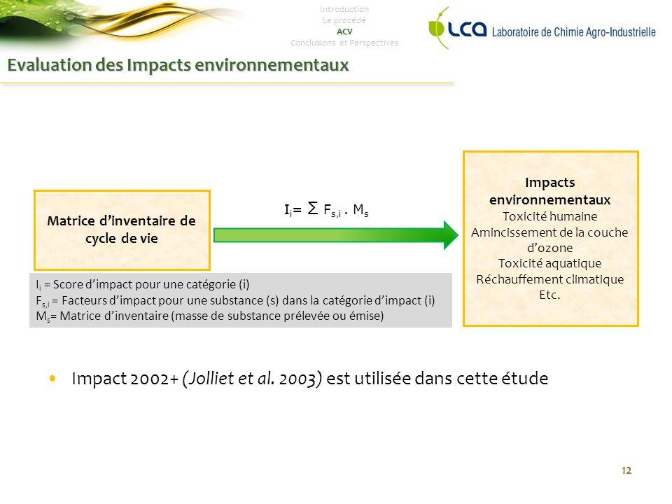 Evaluation des Impacts environnementaux Impact 2002+ (Jolliet et al.