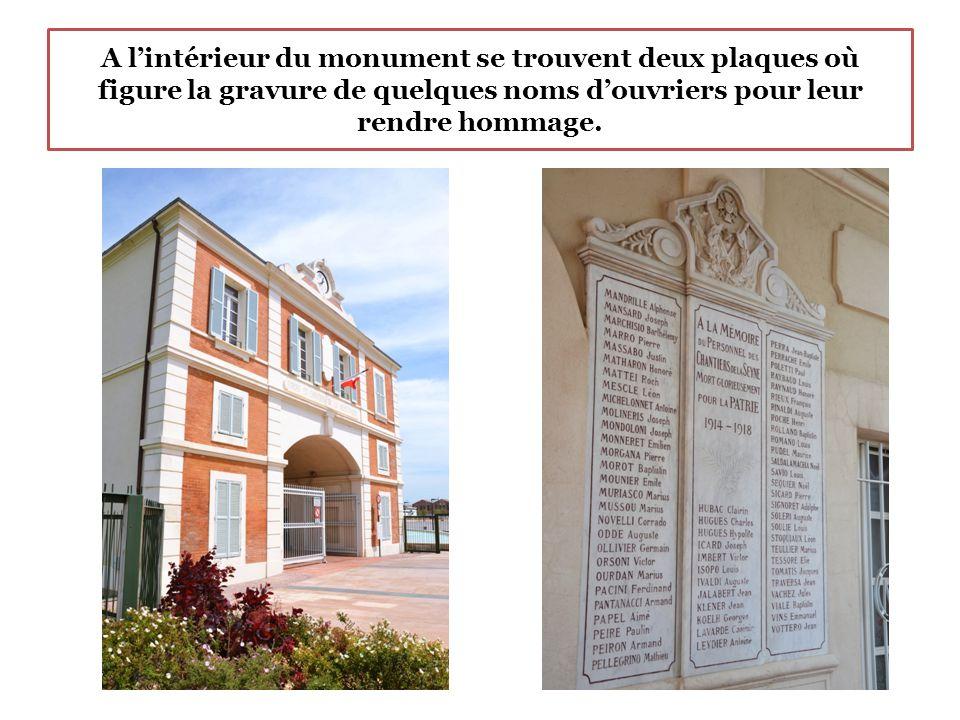 A l'intérieur du monument se trouvent deux plaques où figure la gravure de quelques noms d'ouvriers pour leur rendre hommage.