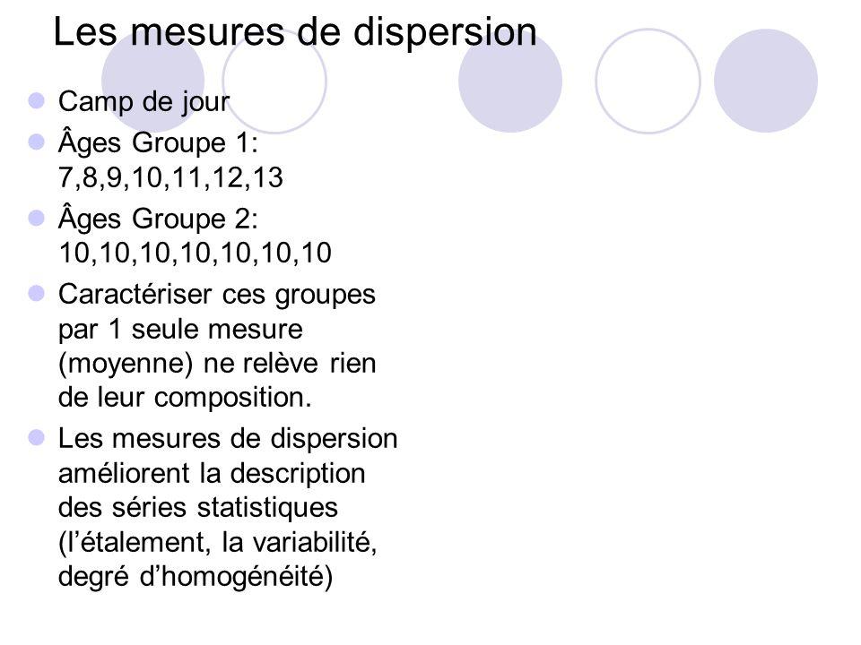 Les mesures de dispersion Camp de jour Âges Groupe 1: 7,8,9,10,11,12,13 Âges Groupe 2: 10,10,10,10,10,10,10 Caractériser ces groupes par 1 seule mesur