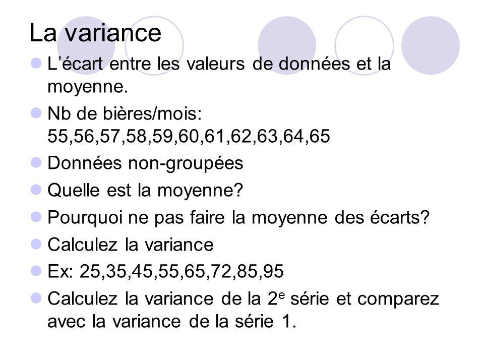 La variance L'écart entre les valeurs de données et la moyenne. Nb de bières/mois: 55,56,57,58,59,60,61,62,63,64,65 Données non-groupées Quelle est la