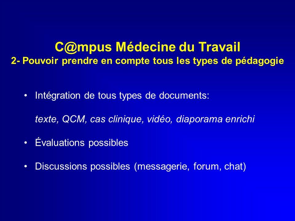 Intégration de tous types de documents: texte, QCM, cas clinique, vidéo, diaporama enrichi Évaluations possibles Discussions possibles (messagerie, fo