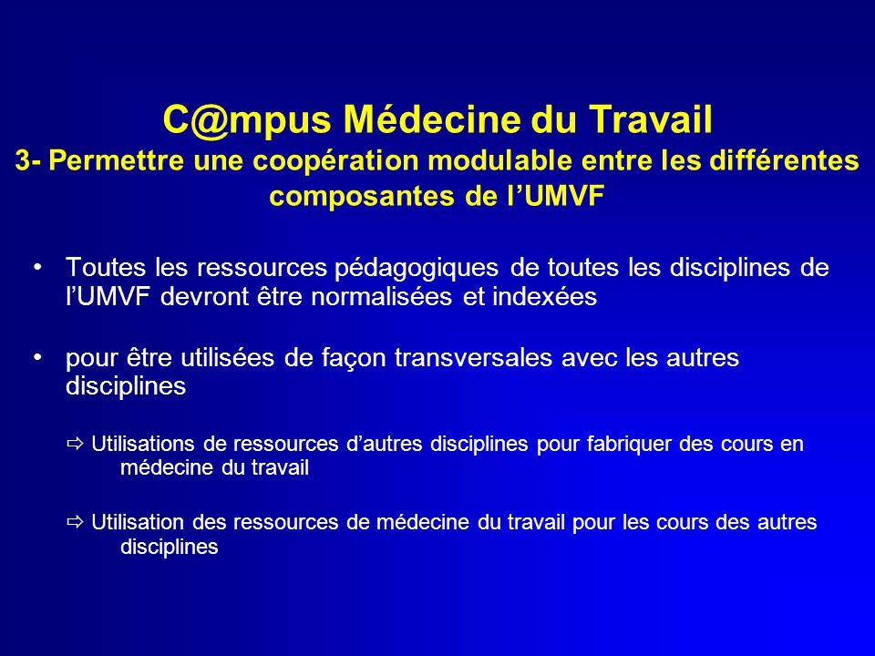 Toutes les ressources pédagogiques de toutes les disciplines de l'UMVF devront être normalisées et indexées pour être utilisées de façon transversales