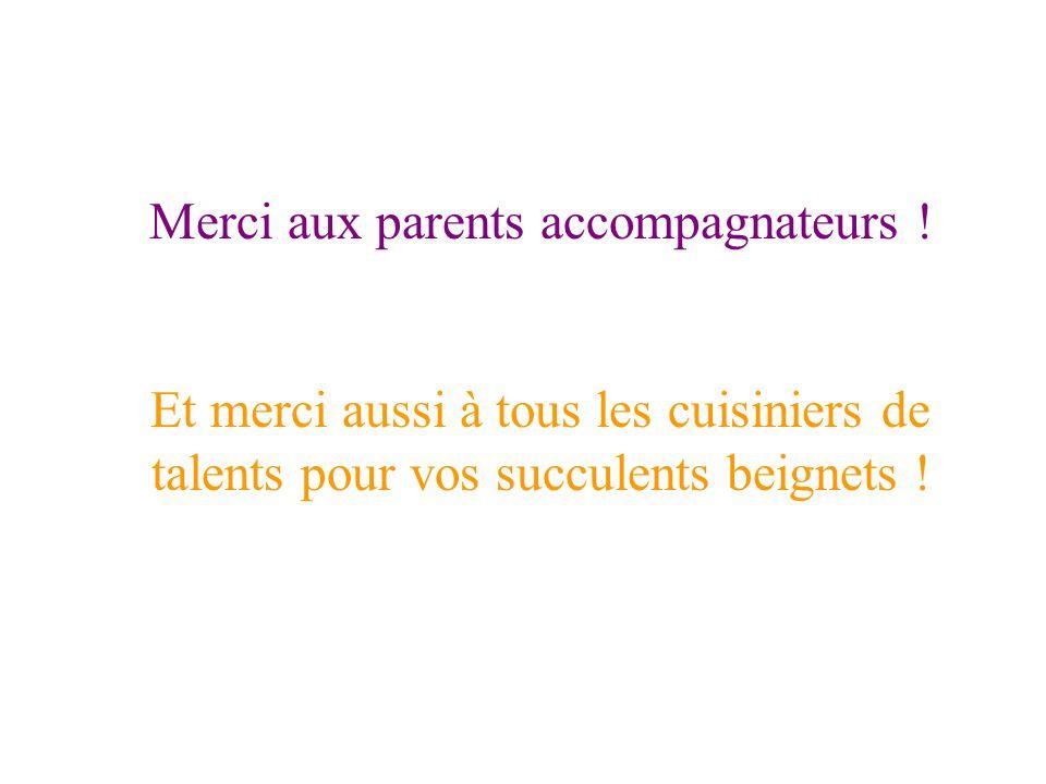 Merci aux parents accompagnateurs .