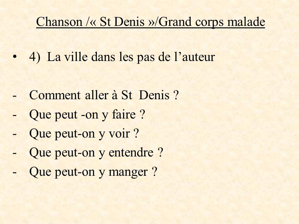Chanson /« St Denis »/Grand corps malade 4) La ville dans les pas de l'auteur -Comment aller à St Denis ? -Que peut -on y faire ? -Que peut-on y voir