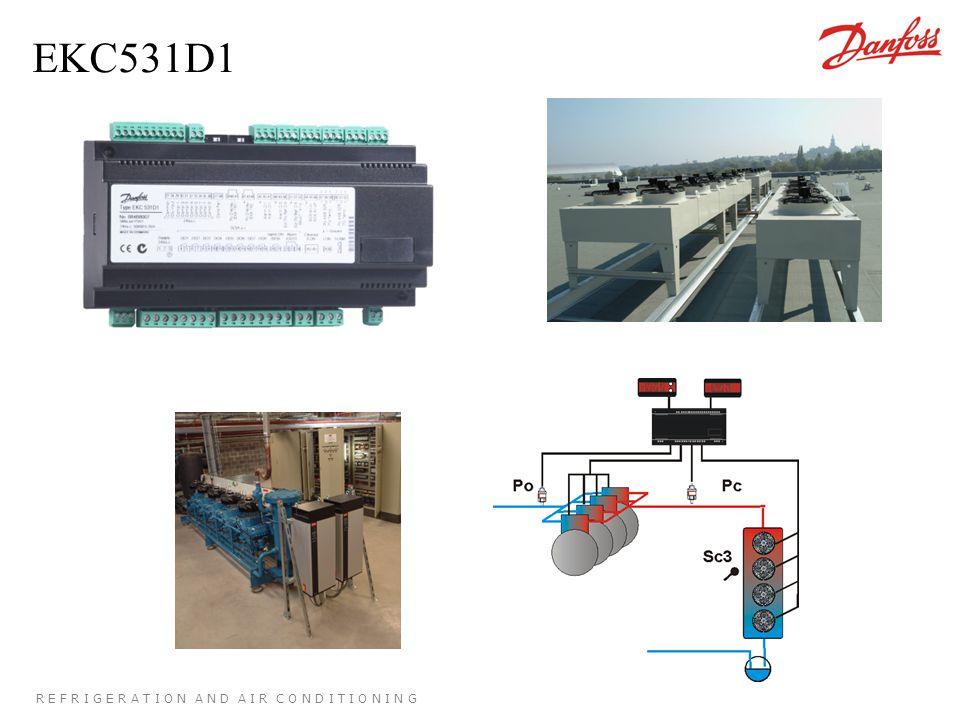 R E F R I G E R A T I O N A N D A I R C O N D I T I O N I N G EKC531D1 8 sorties relais (compresseurs + condenseurs) (extension possible à 9 ou 10 via AKM) 1 sortie 0..10V - 4 ou 8 relais condenseurs - variation de vitesse 2 entrées capteurs de pression (ou sondes si eau glacée) 3 entrées sondes de température 8 entrées sécurité compresseur dédiées 5 entrées libres (état, modification, alarme) 1 sortie alarme 1 entrée Marche/Arrêt 2 afficheurs déportés (dont 1 pour le paramétrage)