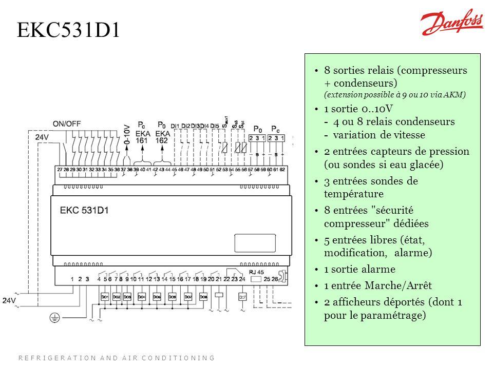 R E F R I G E R A T I O N A N D A I R C O N D I T I O N I N G EKC531D1 8 sorties relais (compresseurs + condenseurs) (extension possible à 9 ou 10 via