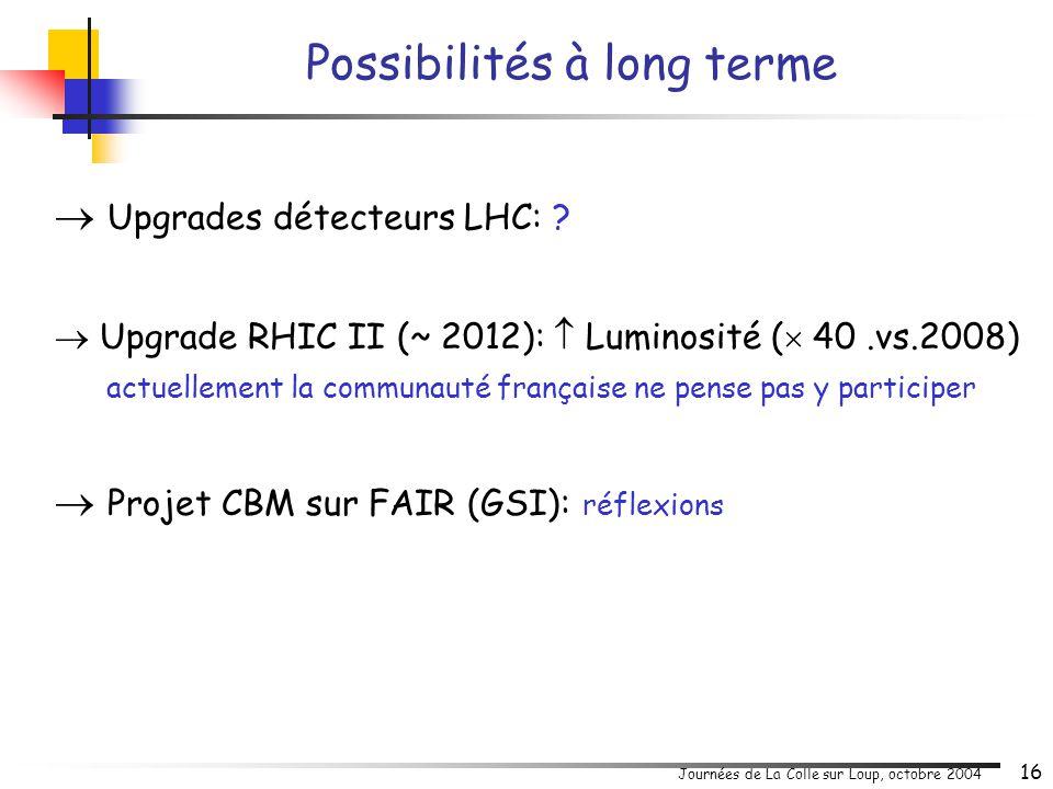 Journées de La Colle sur Loup, octobre 2004 16  Upgrades détecteurs LHC: ?  Upgrade RHIC II (~ 2012):  Luminosité (  40.vs.2008) actuellement la c