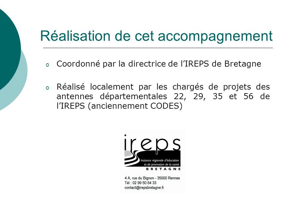 Réalisation de cet accompagnement o Coordonné par la directrice de l'IREPS de Bretagne o Réalisé localement par les chargés de projets des antennes départementales 22, 29, 35 et 56 de l'IREPS (anciennement CODES)