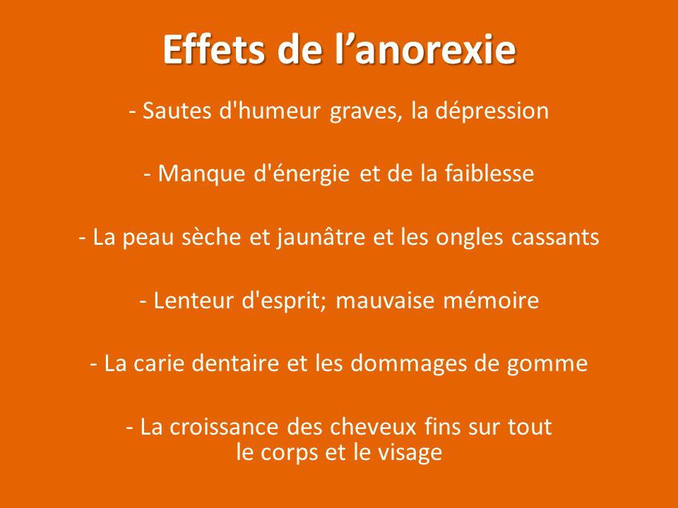 Causes de l'anorexie Ils sont perfectionnistes; si ils ne sont pas parfaits, ils sont un échec total Les pressions familiales et sociales jouent un gr