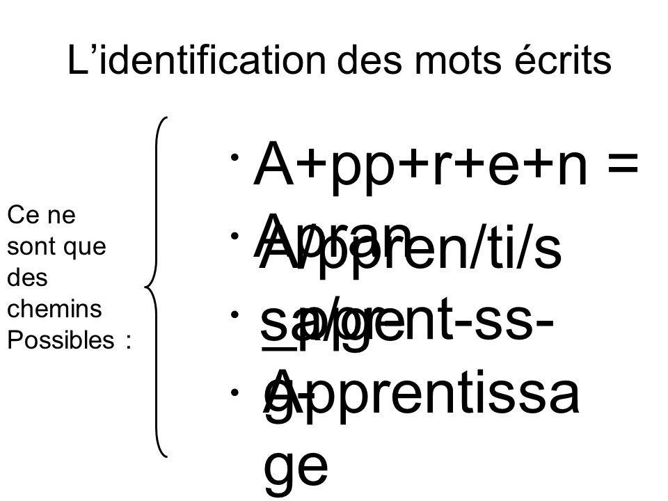 L'identification des mots écrits La voie indirecte La voie semi-directe La voie directe (la voie logographique) Ce ne sont que des chemins Possibles :