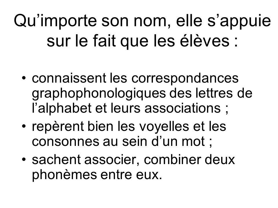 Qu'importe son nom, elle s'appuie sur le fait que les élèves : connaissent les correspondances graphophonologiques des lettres de l'alphabet et leurs