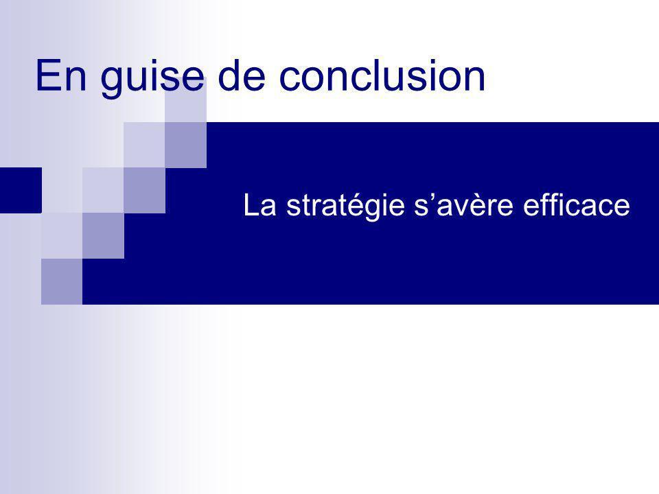 En guise de conclusion La stratégie s'avère efficace