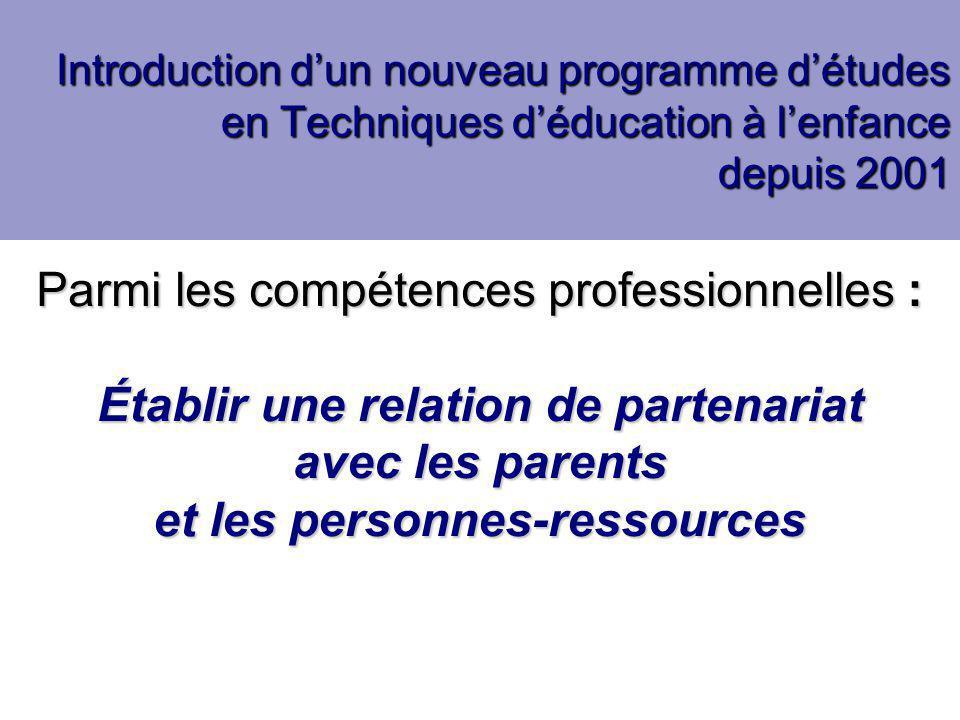 Deux axes de recherche Analyse des représentations des futures éducatrices quant à la relation avec les parents Analyse des représentations des futures éducatrices quant à la relation avec les parents  Entrevues individuelles et de groupe; questionnaire Mise au point et expérimentation d'une stratégie pédagogique afin de développer la compétence : Établir une relation de partenariat avec les parents et les personnes-ressources Mise au point et expérimentation d'une stratégie pédagogique afin de développer la compétence : Établir une relation de partenariat avec les parents et les personnes-ressources  Questionnaire d'évaluation; bilan de stage; entrevues individuelles