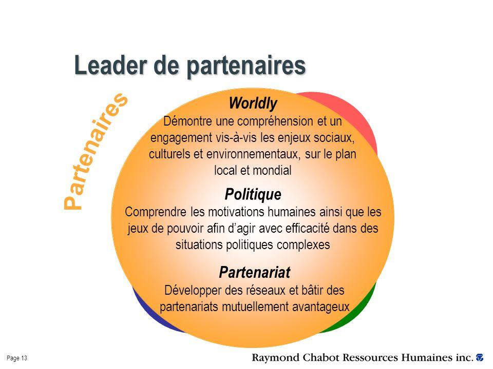 Page 13 Leader de partenaires Worldly Démontre une compréhension et un engagement vis-à-vis les enjeux sociaux, culturels et environnementaux, sur le plan local et mondial Politique Comprendre les motivations humaines ainsi que les jeux de pouvoir afin d'agir avec efficacité dans des situations politiques complexes Partenariat Développer des réseaux et bâtir des partenariats mutuellement avantageux