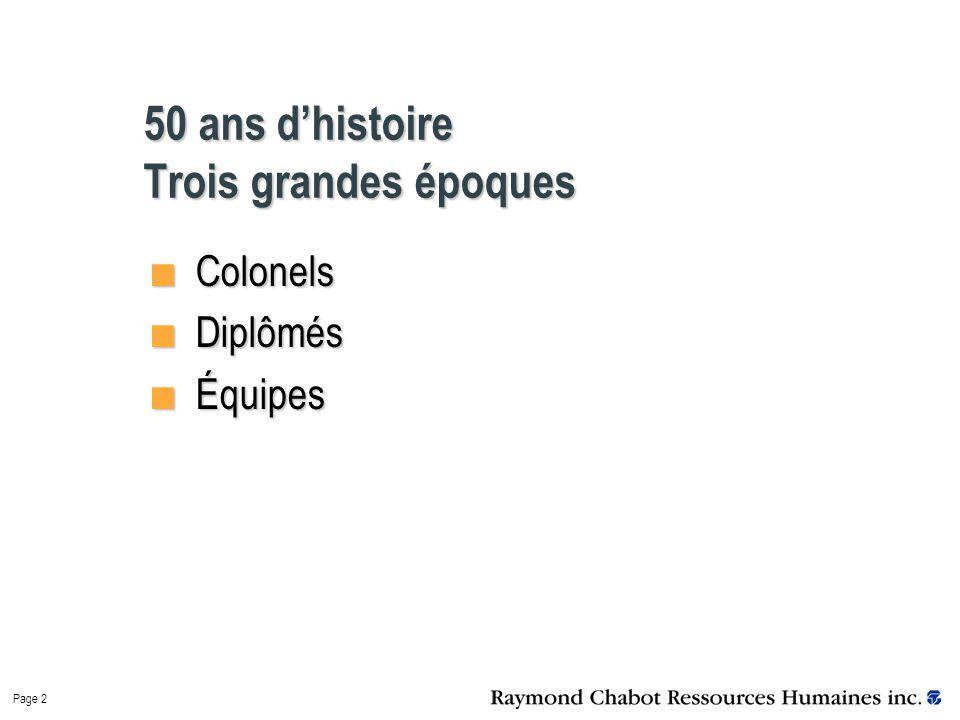 Page 2 50 ans d'histoire Trois grandes époques Colonels Colonels Diplômés Diplômés Équipes Équipes