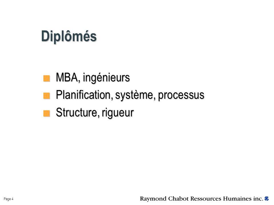 Page 4 Diplômés MBA, ingénieurs MBA, ingénieurs Planification, système, processus Planification, système, processus Structure, rigueur Structure, rigueur