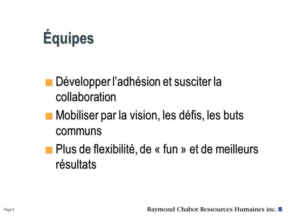 Page 5 Équipes Développer l'adhésion et susciter la collaboration Mobiliser par la vision, les défis, les buts communs Plus de flexibilité, de « fun » et de meilleurs résultats