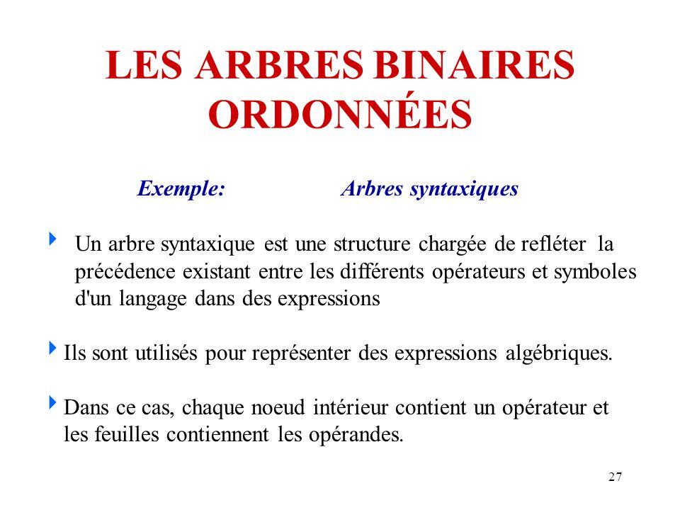 27 LES ARBRES BINAIRES ORDONNÉES Exemple:Arbres syntaxiques  Un arbre syntaxique est une structure chargée de refléter la précédence existant entre l