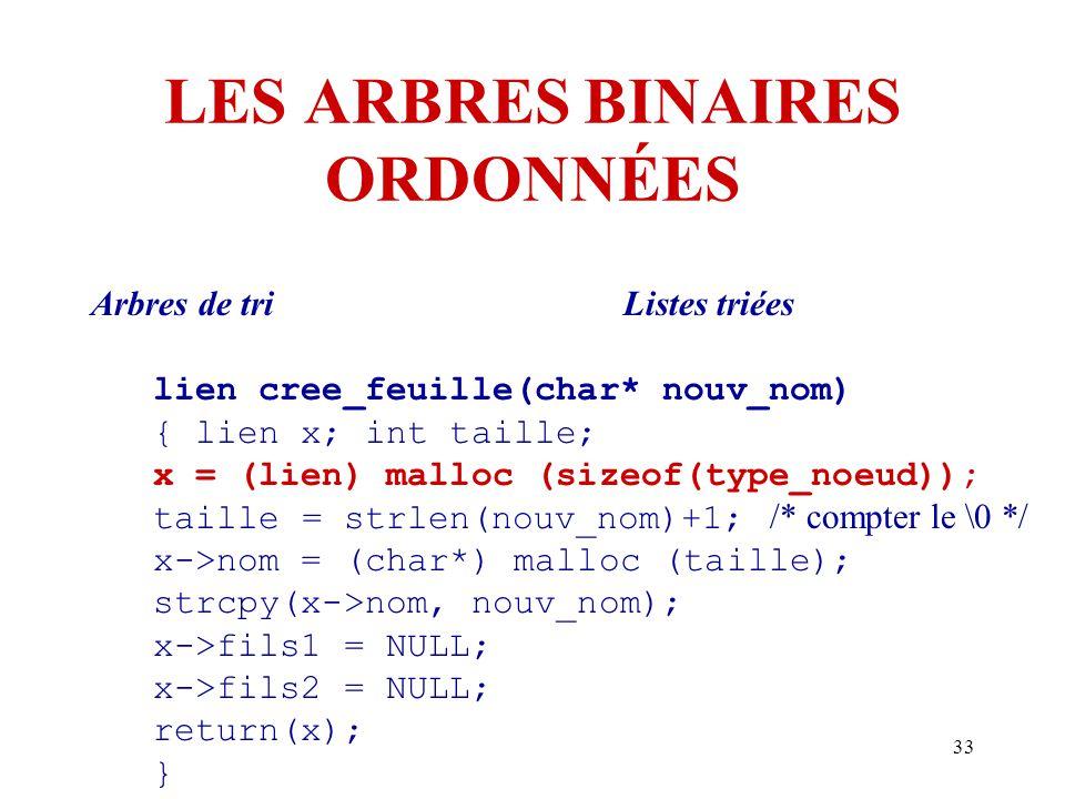 33 LES ARBRES BINAIRES ORDONNÉES Arbres de triListes triées lien cree_feuille(char* nouv_nom) { lien x; int taille; x = (lien) malloc (sizeof(type_noe