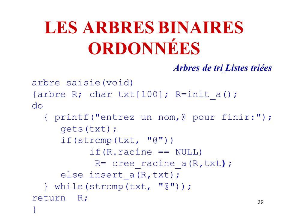 39 LES ARBRES BINAIRES ORDONNÉES Arbres de tri Listes triées arbre saisie(void) {arbre R; char txt[100]; R=init_a(); do { printf(
