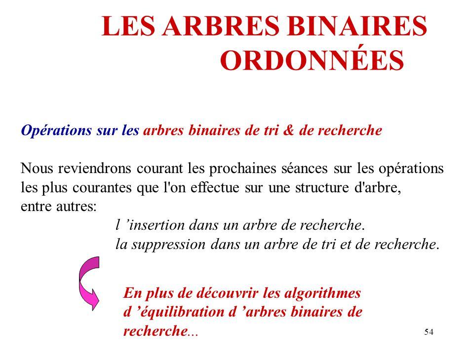 54 LES ARBRES BINAIRES ORDONNÉES Opérations sur les arbres binaires de tri & de recherche Nous reviendrons courant les prochaines séances sur les opér