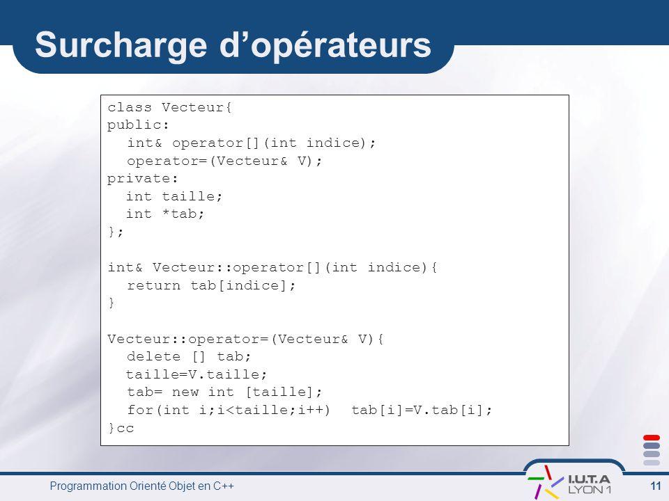 Programmation Orienté Objet en C++ 11 Surcharge d'opérateurs class Vecteur{ public: int& operator[](int indice); operator=(Vecteur& V); private: int taille; int *tab; }; int& Vecteur::operator[](int indice){ return tab[indice]; } Vecteur::operator=(Vecteur& V){ delete [] tab; taille=V.taille; tab= new int [taille]; for(int i;i<taille;i++) tab[i]=V.tab[i]; }cc