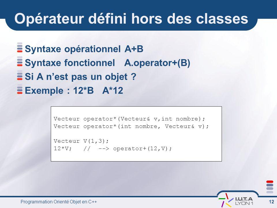 Programmation Orienté Objet en C++ 12 Opérateur défini hors des classes Syntaxe opérationnel A+B Syntaxe fonctionnel A.operator+(B) Si A n'est pas un objet .