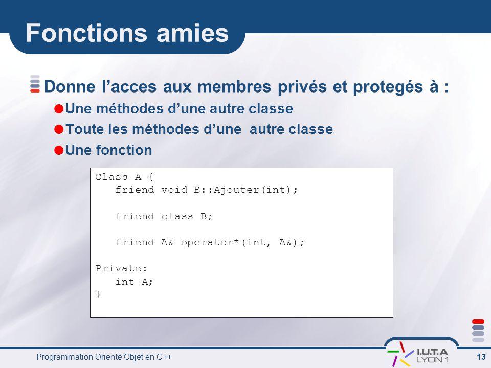 Programmation Orienté Objet en C++ 13 Fonctions amies Donne l'acces aux membres privés et protegés à :  Une méthodes d'une autre classe  Toute les méthodes d'une autre classe  Une fonction Class A { friend void B::Ajouter(int); friend class B; friend A& operator*(int, A&); Private: int A; }