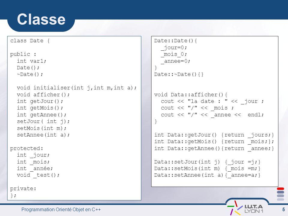 Programmation Orienté Objet en C++ 5 Classe class Date { public : int var1; Date(); ~Date(); void initialiser(int j,int m,int a); void afficher(); int getJour(); int getMois(); int getAnnee(); setJour( int j); setMois(int m); setAnnee(int a); protected: int _jour; int _mois; int _année; void _test(); private: }; Date::Date(){ _jour=0; _mois_0; _annee=0; } Date::~Date(){} void Data::afficher(){ cout << la date : << _jour ; cout << / << _mois ; cout << / << _annee << endl; } int Data::getJour() {return _jours;} int Data::getMois() {return _mois;}; int Data::getAnnee(){return _annee;} Data::setJour(int j) {_jour =j;} Data::setMois(int m) {_mois =m;} Data::setAnnee(int a){_annee=a;}