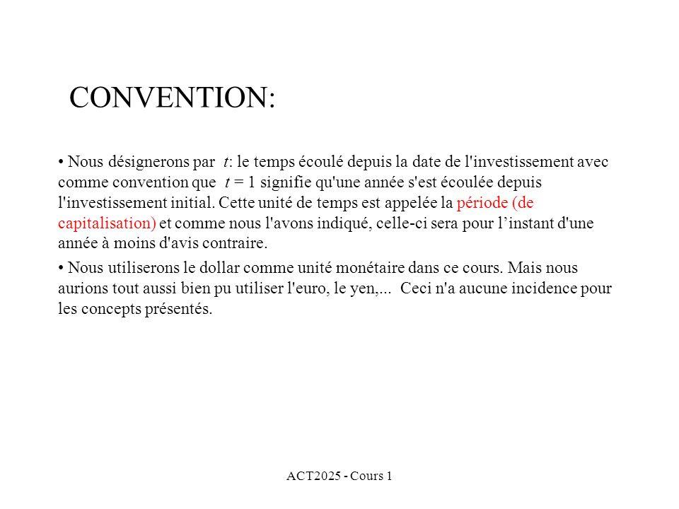 ACT2025 - Cours 1 Nous désignerons par t: le temps écoulé depuis la date de l'investissement avec comme convention que t = 1 signifie qu'une année s'e