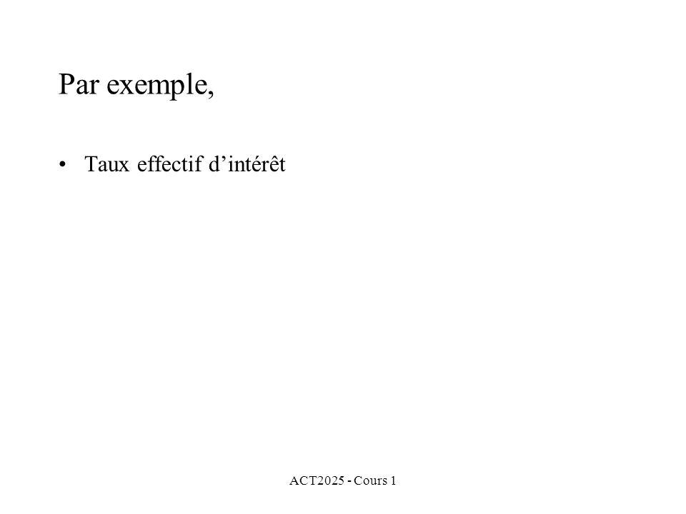 ACT2025 - Cours 1 Par exemple, Taux effectif d'intérêt