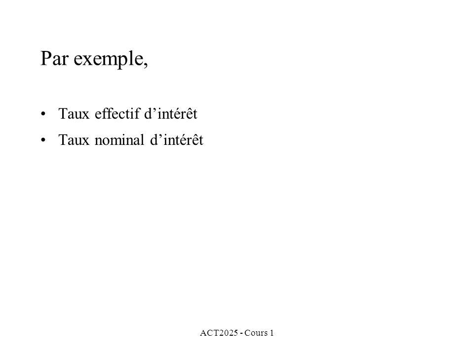 ACT2025 - Cours 1 Par exemple, Taux effectif d'intérêt Taux nominal d'intérêt