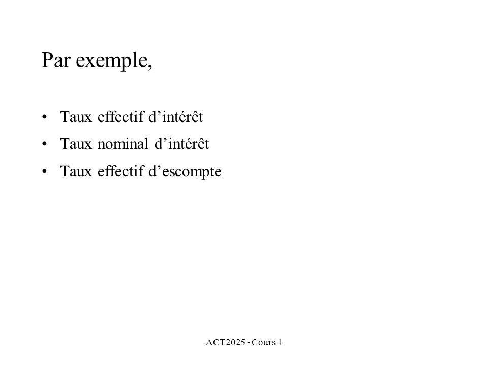 ACT2025 - Cours 1 Par exemple, Taux effectif d'intérêt Taux nominal d'intérêt Taux effectif d'escompte