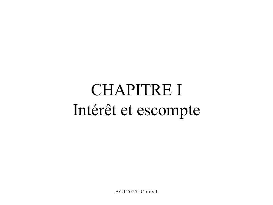 ACT2025 - Cours 1 Exemples de formes de capitalisation communes de l'intérêt: Intérêt simple Intérêt composé Escompte simple Escompte composé
