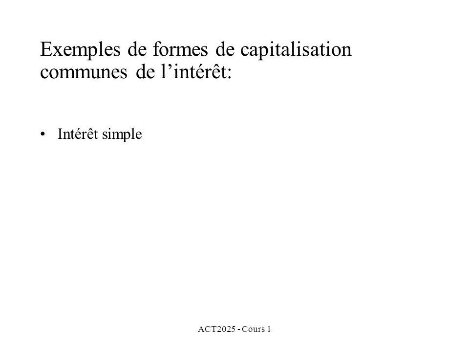 ACT2025 - Cours 1 Exemples de formes de capitalisation communes de l'intérêt: Intérêt simple
