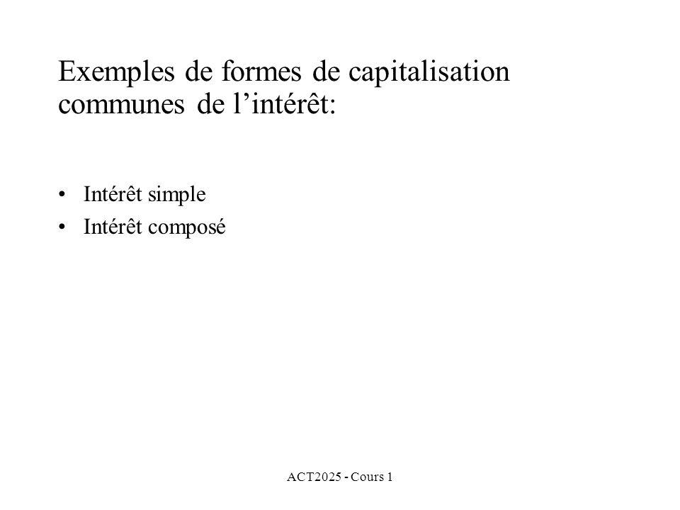 ACT2025 - Cours 1 Exemples de formes de capitalisation communes de l'intérêt: Intérêt simple Intérêt composé