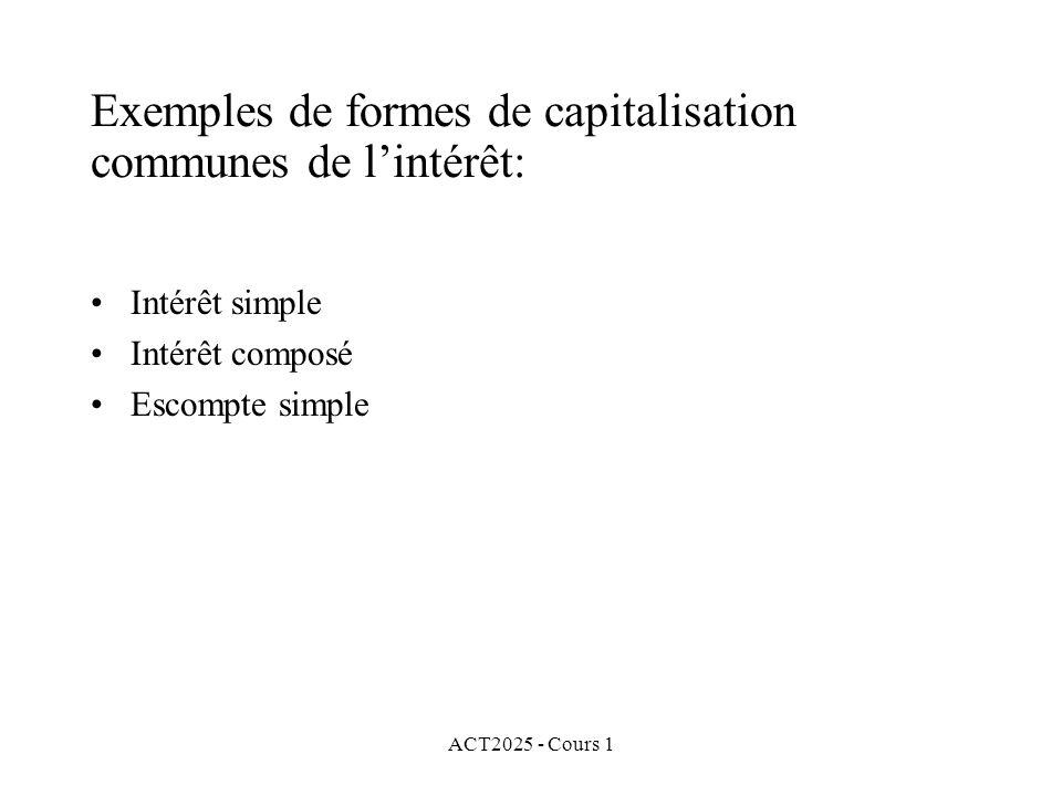 ACT2025 - Cours 1 Exemples de formes de capitalisation communes de l'intérêt: Intérêt simple Intérêt composé Escompte simple