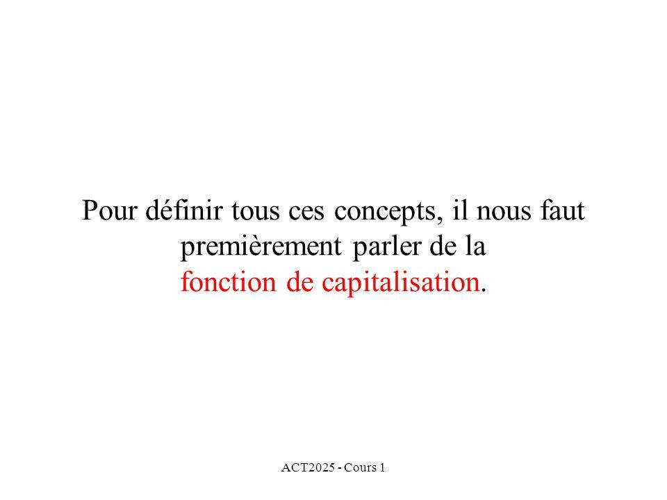 ACT2025 - Cours 1 Pour définir tous ces concepts, il nous faut premièrement parler de la fonction de capitalisation.