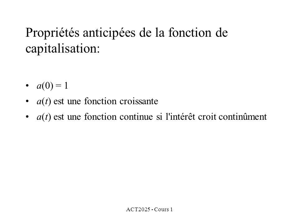 ACT2025 - Cours 1 Propriétés anticipées de la fonction de capitalisation: a(0) = 1 a(t) est une fonction croissante a(t) est une fonction continue si