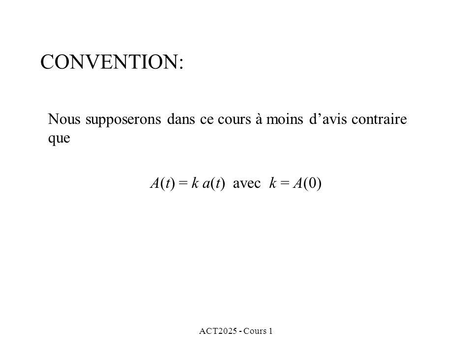 ACT2025 - Cours 1 CONVENTION: Nous supposerons dans ce cours à moins d'avis contraire que A(t) = k a(t) avec k = A(0)