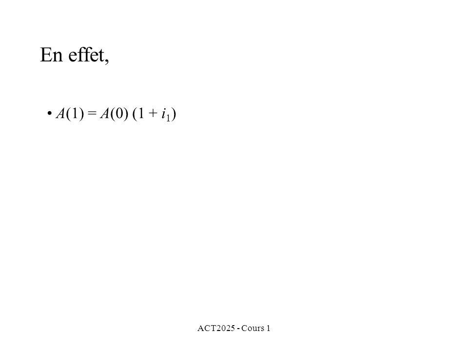 ACT2025 - Cours 1 En effet, A(1) = A(0) (1 + i 1 )