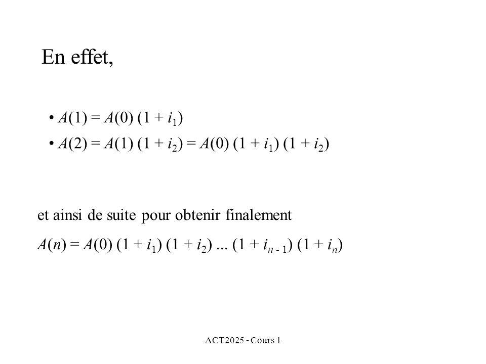 ACT2025 - Cours 1 En effet, A(1) = A(0) (1 + i 1 ) A(2) = A(1) (1 + i 2 ) = A(0) (1 + i 1 ) (1 + i 2 ) et ainsi de suite pour obtenir finalement A(n)