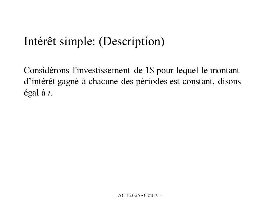 ACT2025 - Cours 1 Intérêt simple: (Description) Considérons l'investissement de 1$ pour lequel le montant d'intérêt gagné à chacune des périodes est c