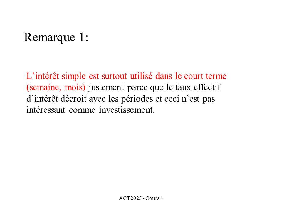 ACT2025 - Cours 1 Remarque 1: L'intérêt simple est surtout utilisé dans le court terme (semaine, mois) justement parce que le taux effectif d'intérêt