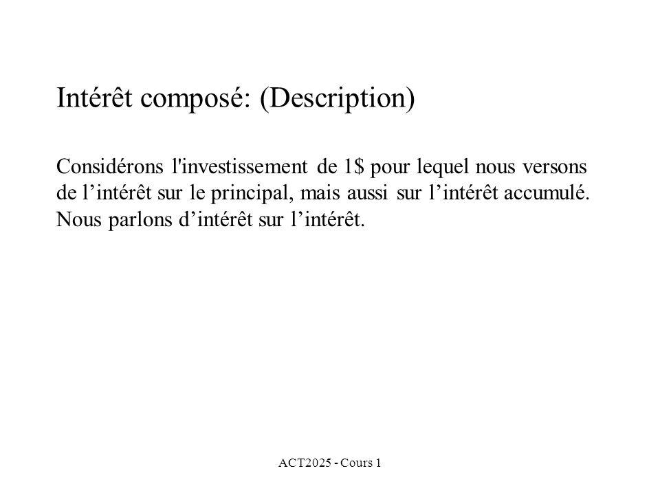 ACT2025 - Cours 1 Intérêt composé: (Description) Considérons l'investissement de 1$ pour lequel nous versons de l'intérêt sur le principal, mais aussi