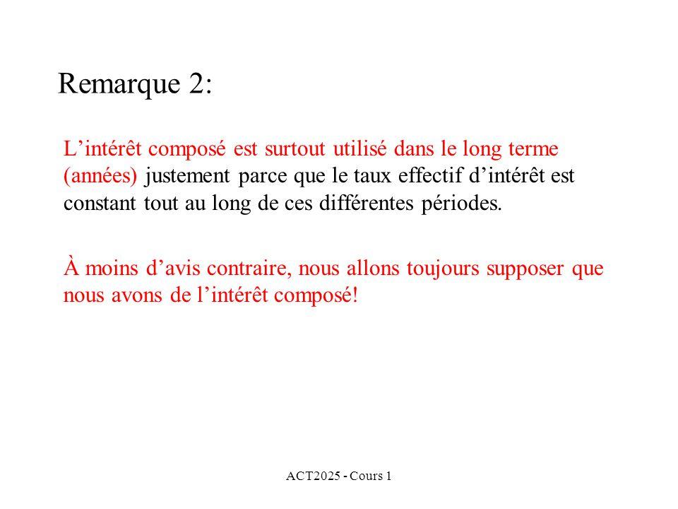 ACT2025 - Cours 1 Remarque 2: L'intérêt composé est surtout utilisé dans le long terme (années) justement parce que le taux effectif d'intérêt est con
